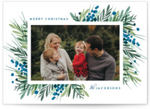 This is a blue holiday photo card by Kristie Kern called Fresh Winter Greens with standard printing on smooth signature in standard.