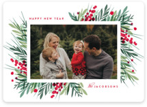 This is a red holiday photo card by Kristie Kern called Fresh Winter Greens with standard printing on smooth signature in standard.