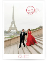 This is a red holiday photo card by Debb W called Vacay Fav with standard printing on smooth signature in standard.