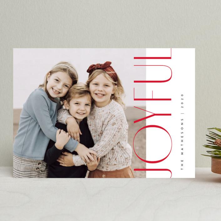 """Minimalist Joyful"" - Holiday Photo Cards in Berry by Kelly Schmidt."