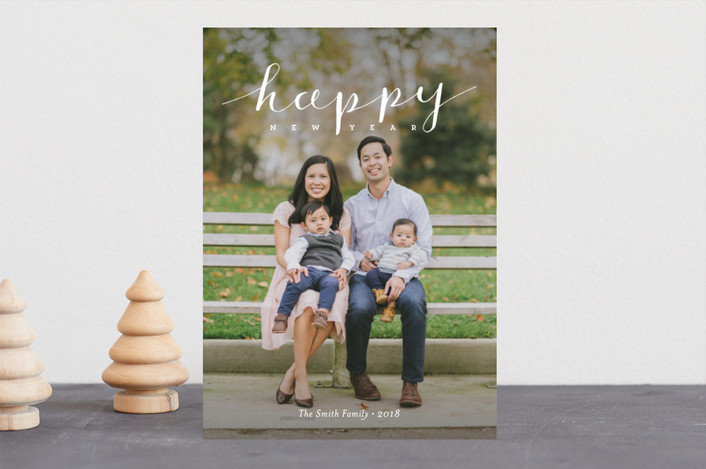 """Simply Happy Holidays"" - Holiday Photo Cards in Snowflake by Frooted Design."