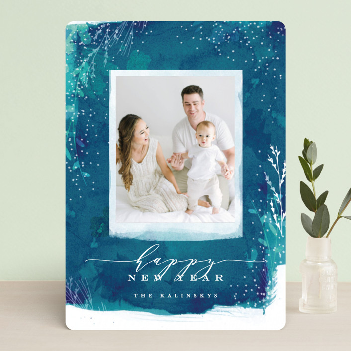 """Snowprint"" - Bohemian Holiday Photo Cards in Ocean by Lori Wemple."