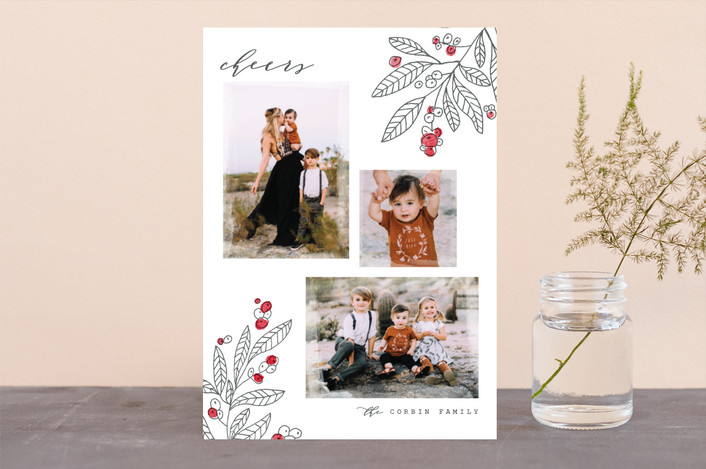 """""""Flora"""" - Holiday Photo Cards in Persimmon by Pistols."""