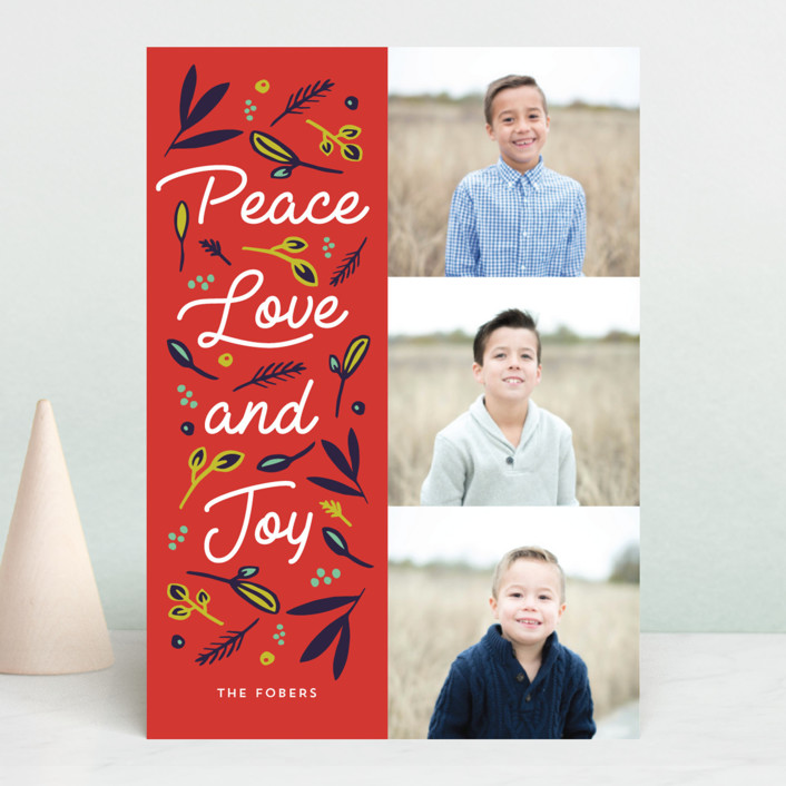 """Peace Love Joy Triple"" - Holiday Photo Cards in Berry by Erika Firm."