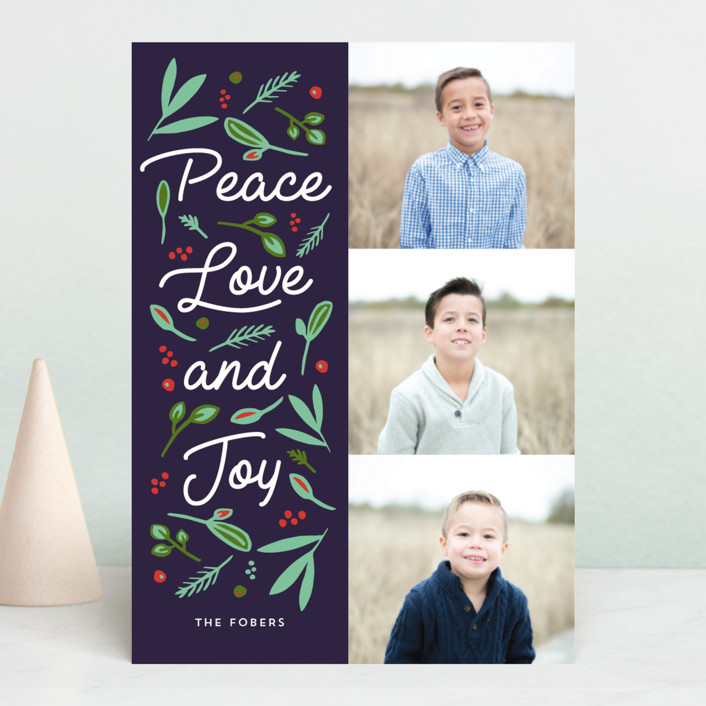 """""""Peace Love Joy Triple"""" - Holiday Photo Cards in Berry by Erika Firm."""