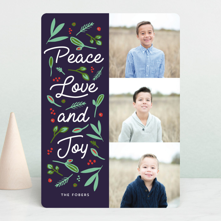 """Peace Love Joy Triple"" - Holiday Photo Cards in Midnight by Erika Firm."