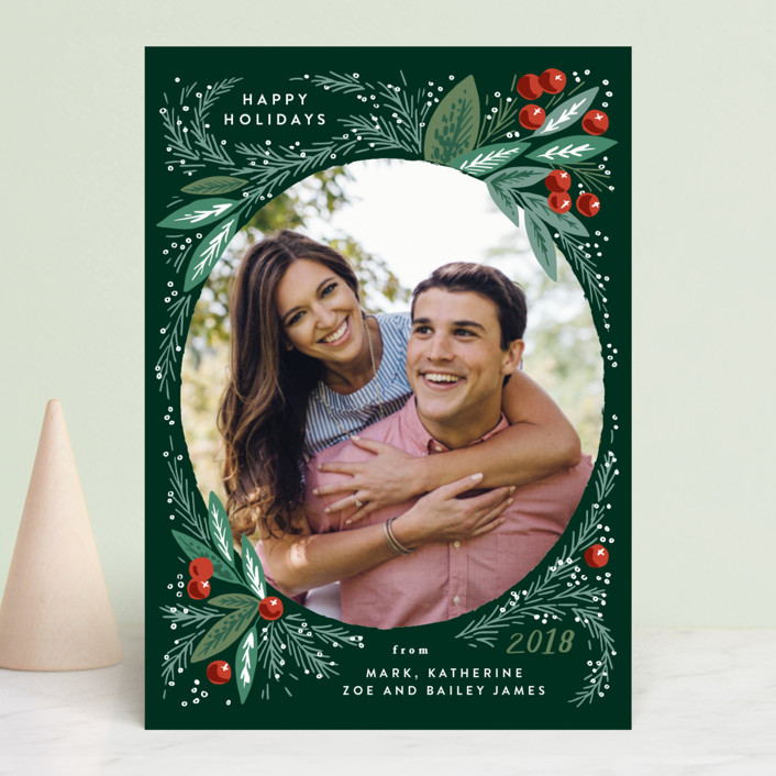"""""""Snow Globe Pine Branches"""" - Holiday Photo Cards in Holly by Alethea and Ruth."""