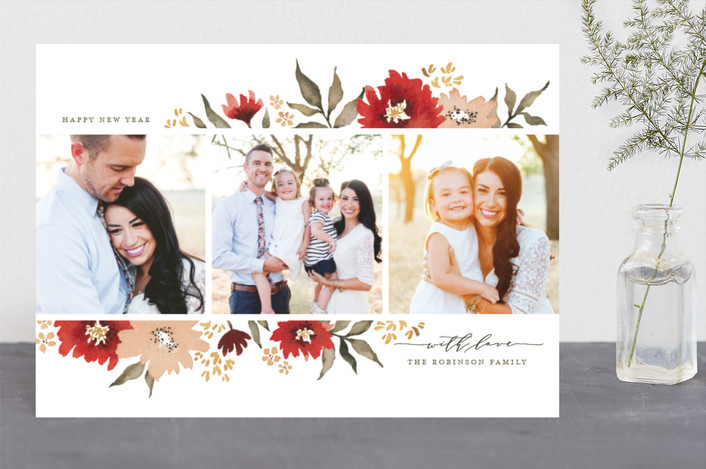 """Poinsettia Gardens"" - Holiday Photo Cards in Poinsettia by Wildfield Paper Co.."