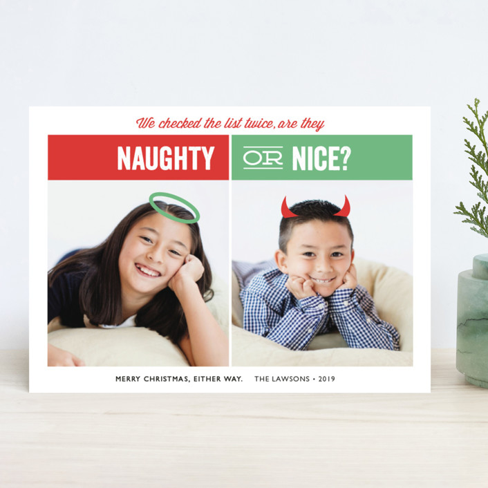 """Naughty or Nice"" - Funny Holiday Photo Cards in Mint by Holly Whitcomb."