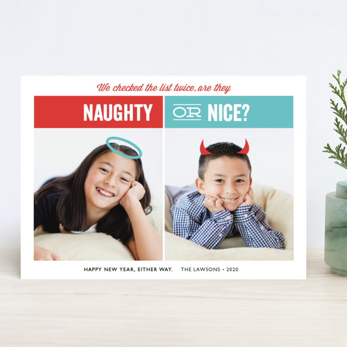 """Naughty or Nice"" - Funny Holiday Photo Cards in Berry by Holly Whitcomb."