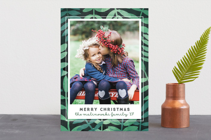 """""""Botanical"""" - Bohemian Holiday Photo Cards in Forest by Jessie Steury."""
