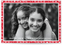 This is a red holiday photo card by Anupama called merry border with standard printing on smooth signature in standard.