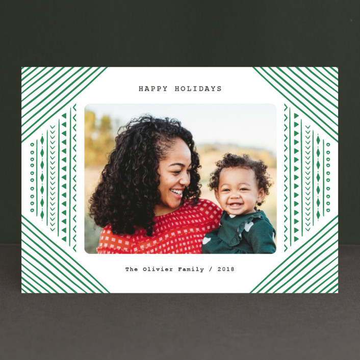 """Tribal Holiday"" - Bohemian Holiday Photo Cards in Shamrock by Iba Aziz."
