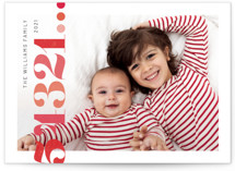 This is a red holiday photo card by Liz Conley called Brightly Stamped Cheer with standard printing on smooth signature in standard.