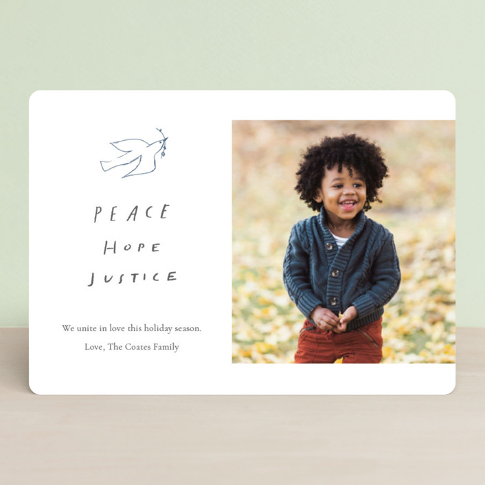"""""""Peace Hope Justice"""" - Bohemian Holiday Photo Cards in Snow by June Letters Studio."""