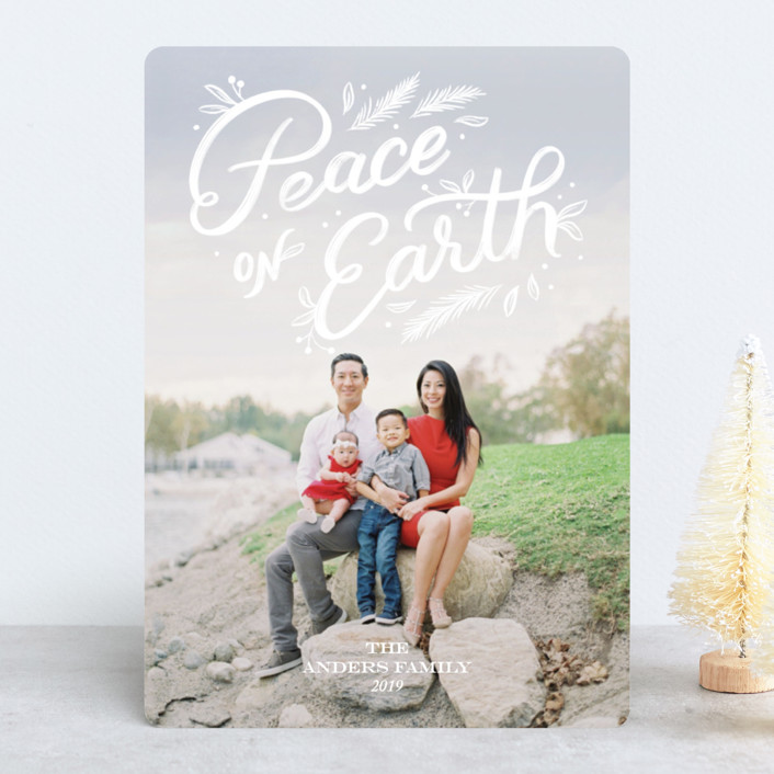"""""""Peace + Pine"""" - Holiday Photo Cards in Snow by Paper Raven Co.."""