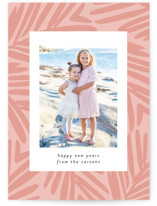 This is a pink holiday photo card by Lindsay Megahed called Breezy Holiday with standard printing on smooth signature in standard.