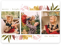 This is a pink holiday photo card by Grace Kreinbrink called Fresh Blooming Frame with standard printing on smooth signature in standard.