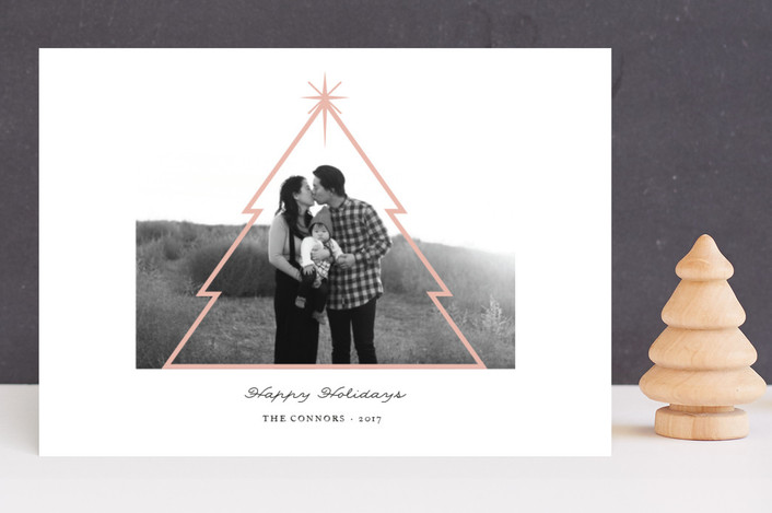 """""""Minimal Christmas Tree"""" - Holiday Photo Cards in Winter Rose by fatfatin."""