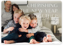 This is a white holiday photo card by Rebecca Durflinger called cherishing the season with standard printing on smooth signature in standard.