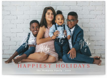This is a red holiday photo card by Kaydi Bishop called New Card Who Dis with standard printing on smooth signature in standard.