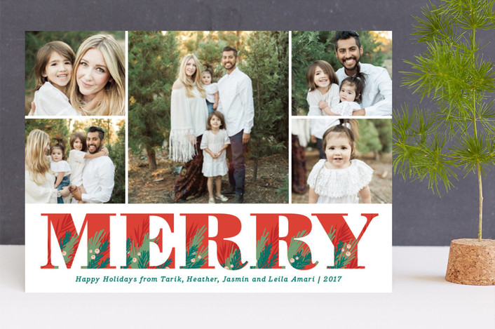 """Illustrated Merry"" - Holiday Photo Cards in Apple by Jill Means."
