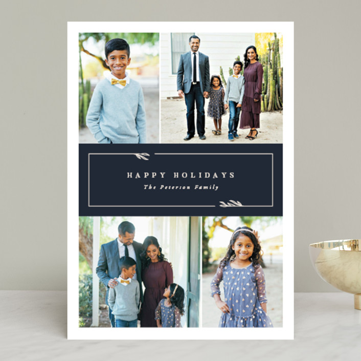 """""""Kent"""" - Holiday Photo Cards in Navy by Robert and Stella."""