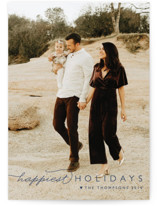 This is a blue holiday photo card by Carolyn MacLaren called Happiest Of All with standard printing on smooth signature in standard.