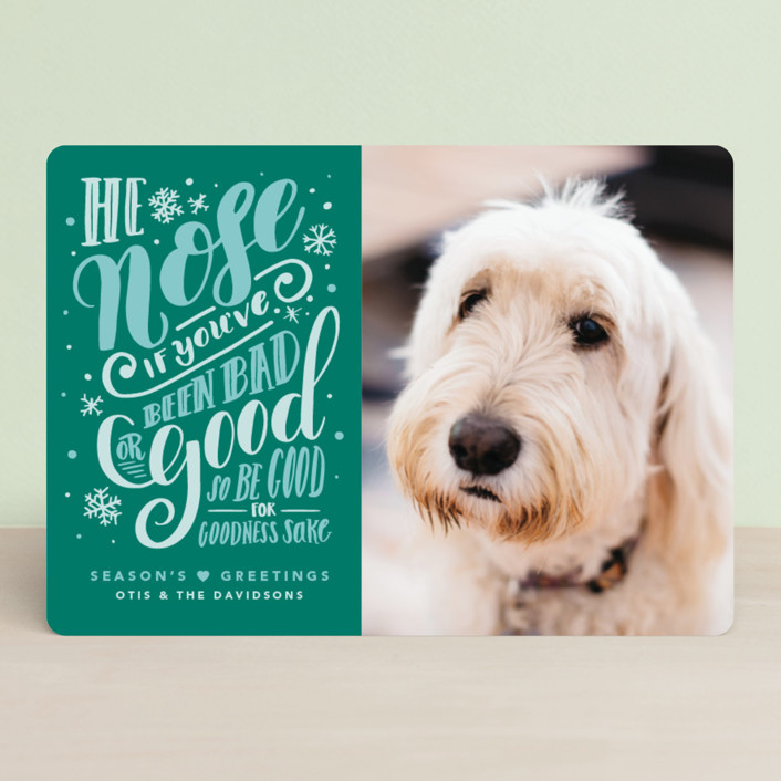 """He Nose"" - Funny Holiday Photo Cards in Balsam Fir by Gina Grittner."