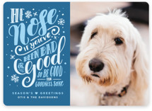 This is a blue holiday photo card by Gina Grittner called He Nose with standard printing on smooth signature in standard.