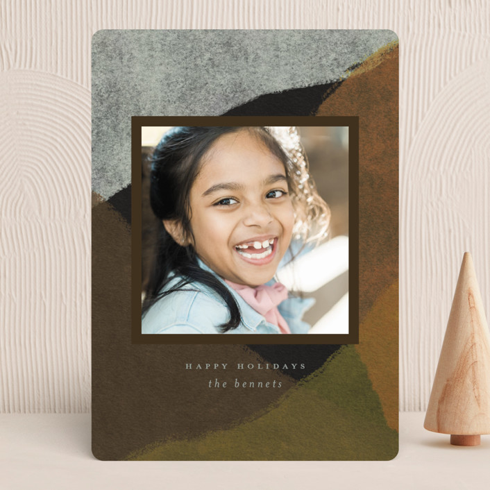 """""""Peaks and Valleys"""" - Modern Holiday Photo Cards in Spice by Heather Cairl."""