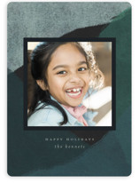 This is a blue holiday photo card by Calluna Fine Paper called Peaks and Valleys with standard printing on smooth signature in standard.