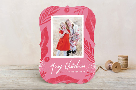Merry Floral Frame Holiday Photo Cards