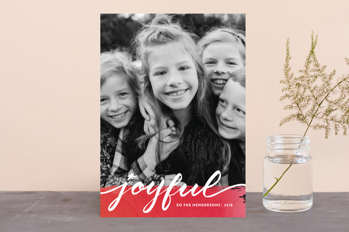 """""""Joyful art"""" - Holiday Photo Cards in Soft red by Stacey Meacham."""