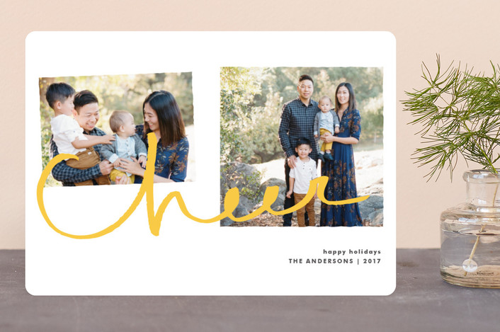 """Cheer for Two"" - Modern Holiday Photo Cards in Soft Gold by Tyler Tea."