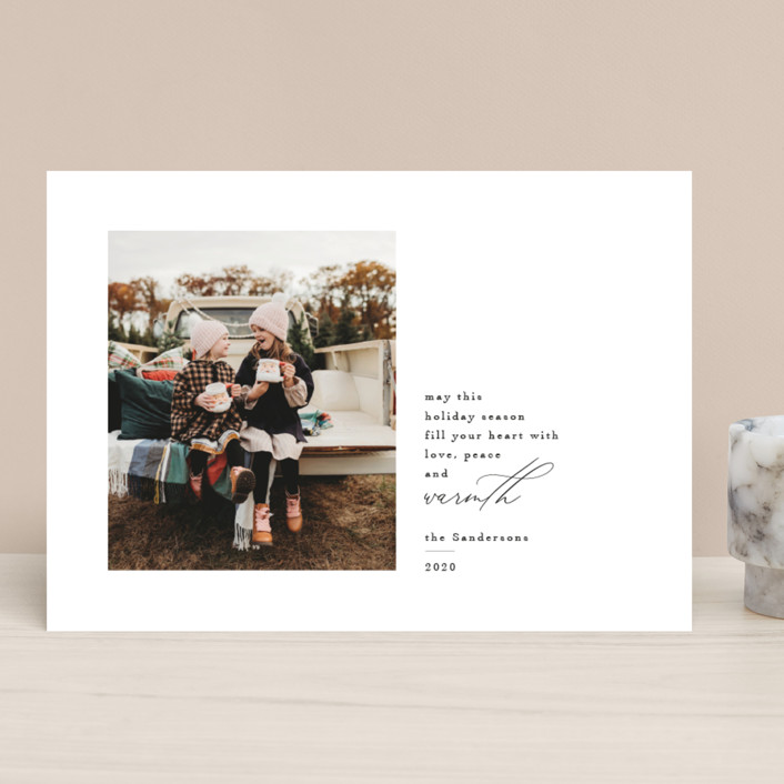 """Love Peace and Warmth"" - Holiday Photo Cards in Ink by Kelly Stewart."