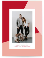 This is a pink holiday photo card by Makewells called Geometric with standard printing on smooth signature in standard.