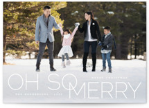 This is a white holiday photo card by Qing Ji called oh so merry in line with standard printing on smooth signature in standard.