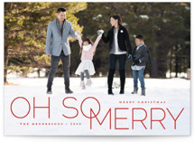 This is a red holiday photo card by Qing Ji called oh so merry in line with standard printing on smooth signature in standard.