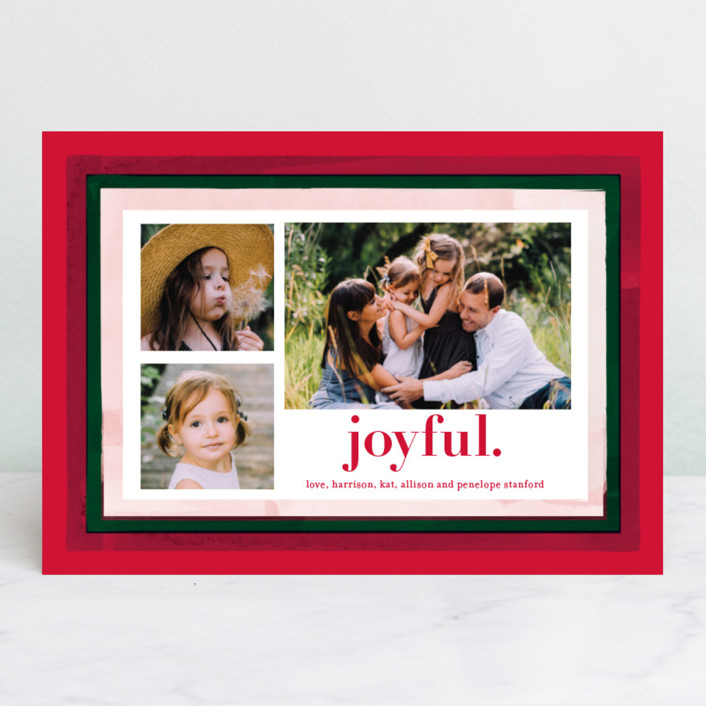 """Holiday Watercolor Frames"" - Holiday Photo Cards in Pomegranate by Baumbirdy."