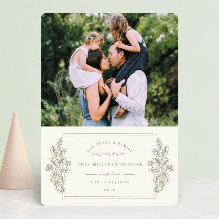 """Peace and Family"" - Holiday Photo Cards in Taupe by Chris Griffith."