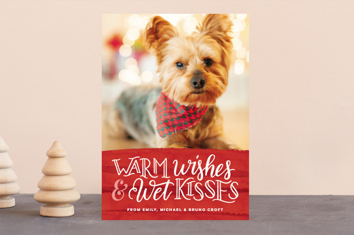 """Warm Wishes Wet Kisses"" - Funny Holiday Photo Cards in Cranberry by Pink House Press."