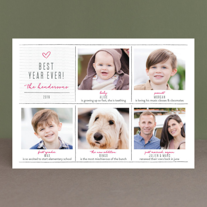 """""""pencil it out"""" - Holiday Photo Cards in Magenta by Aspacia Kusulas."""