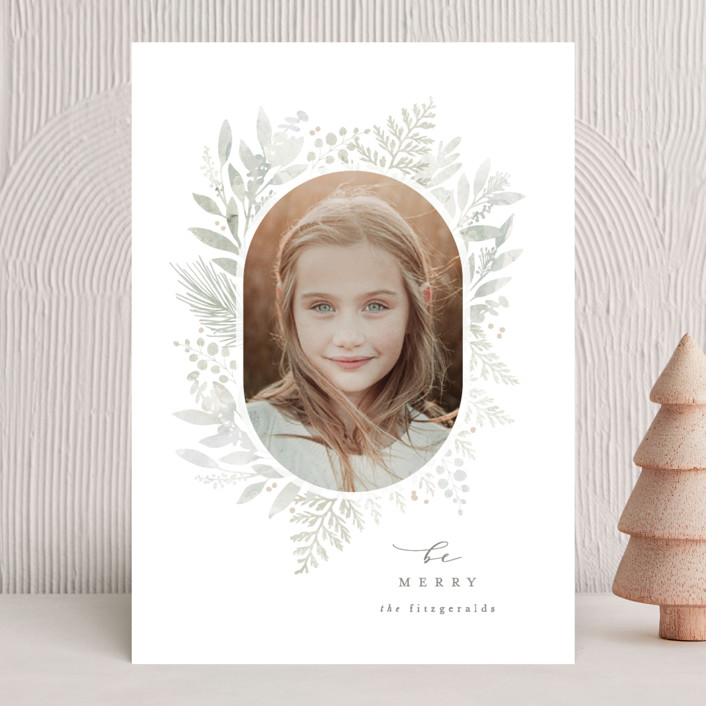 """""""Sweet Greenery"""" - Holiday Photo Cards in Mint by Hooray Creative."""