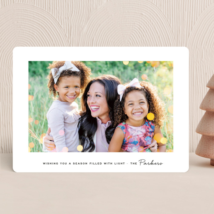 """""""Twinkle Lights"""" - Bohemian Holiday Photo Cards in Snow by Olivia Kanaley Inman."""