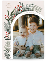 This is a green holiday photo card by Elly called Lush Arch with standard printing on recycled smooth signature in standard.