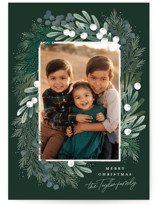 This is a green holiday photo card by Alethea and Ruth called Greenery Wreath with standard printing on smooth signature in standard.