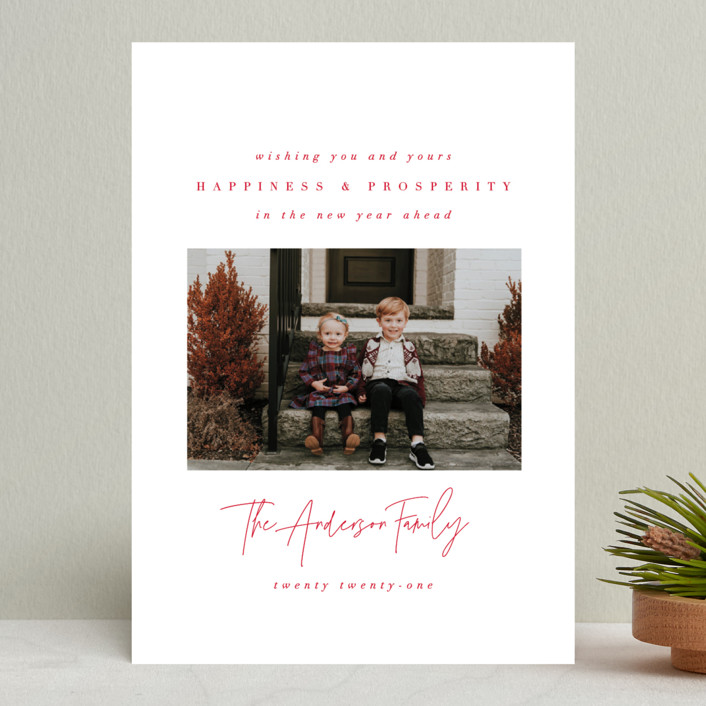 """""""Genuine Love"""" - Holiday Photo Cards in Peppermint by Ana Sharpe."""