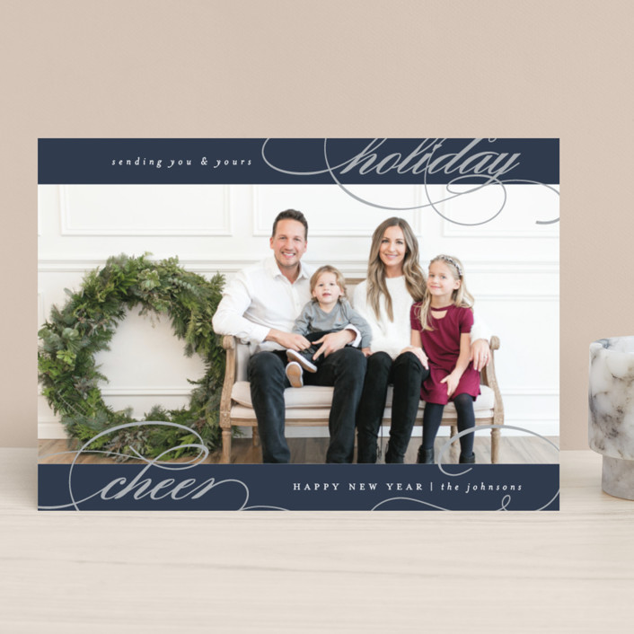 """swirled holiday cheer"" - Foil-pressed Holiday Cards in Navy by Carolyn Nicks."
