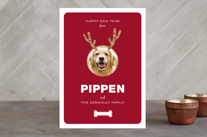 """""""Reinpet"""" - Holiday Photo Cards in Beet by 2birdstone."""